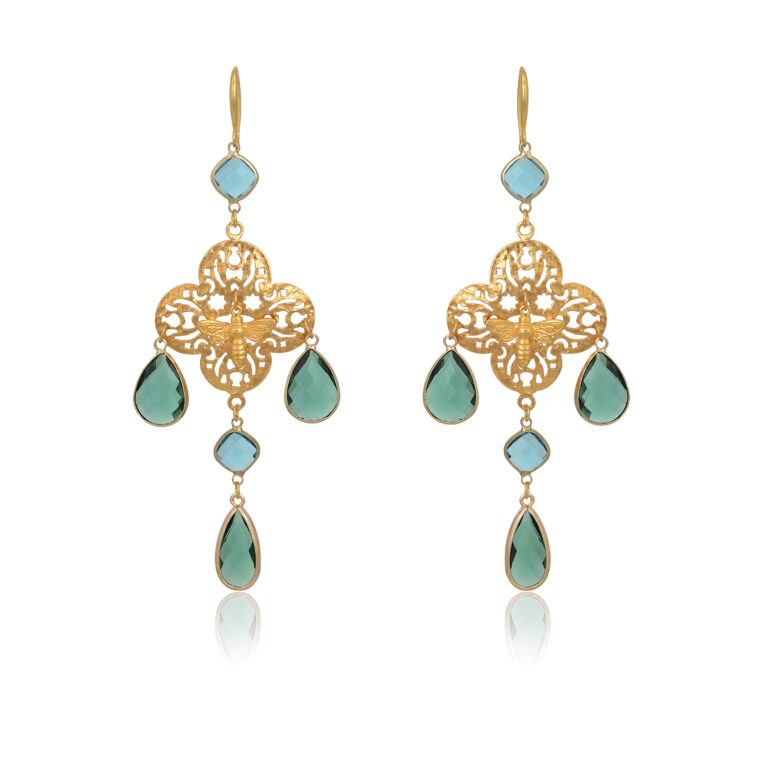 A statement chandelier earrings in a beautiful filigree cross motif, horned with a little bee in the middle. On top, end, and side of the earrings are dandling some fine and colorful crystals. Make a strong impression wherever you go, just by wearing these beauties.