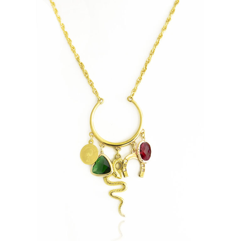 Protect yourself with this splendid necklace! Get yourself seduced by this conspicuous protection snake pendant. This unique piece of jewelry is a powerful talisman and is here to protect you. Made of high-quality 24k gold-plated brass, the stainless-steel chain is giving it a special value. The charms surrounding the snake are there to reinforce his power. The red and green stones are creating a tempting color combination. Wear this protection necklace, to protect yourself from bad vibes and attract luck.