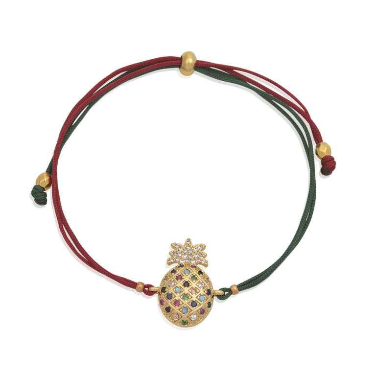 Wear this bracelet solo or with other pieces from our bracelet Collection. Beautiful little shiny pineapplehorned with multicolor zircon. This handmade adjustable bracelet draws the attention to your wrist. Buy it as a gift to a special person, as a friendship bracelet, or wear it as a lucky charm.