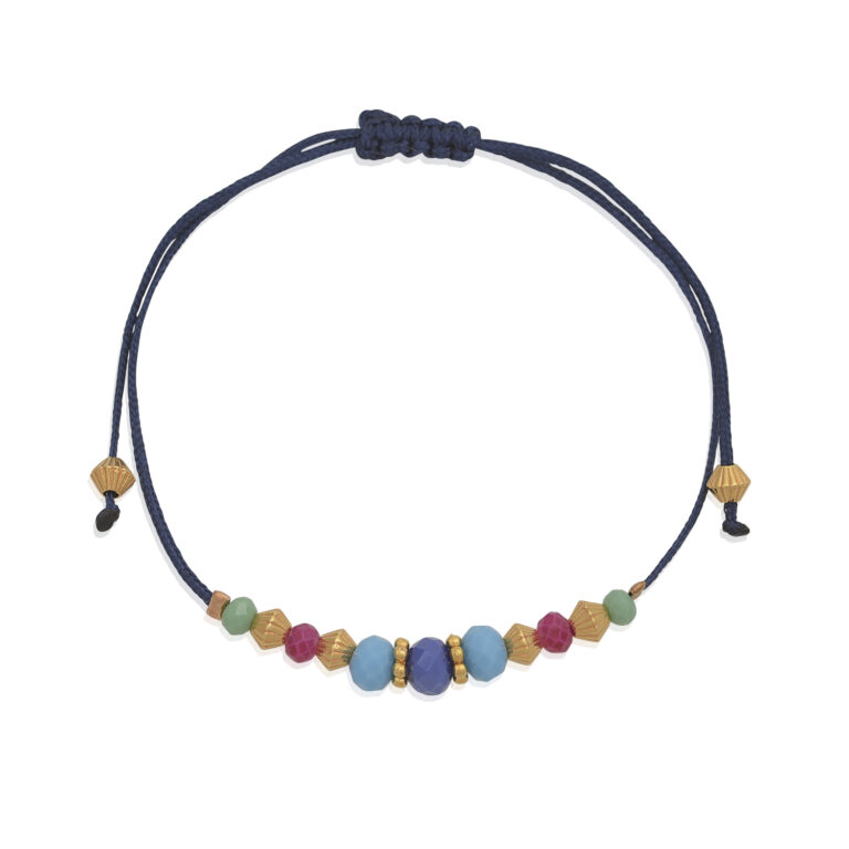 A joyful adjustable bracelet, made with little polygonal glass beads. Light, and easy to wear, you can style it any way you want. Stack it with our other bracelets from our bracelet's collection. Perfect for gift or any occasion.