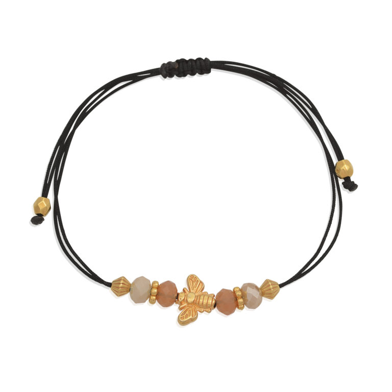 Little gold bee adjustable bracelet.The bee charm of this bracelet is bringing happiness and joy. As a sun dancer, the bee connects the wearer to nature in the most beautiful way.